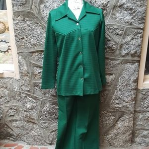 Vintage Women's Custom Made Green Two Piece Suit
